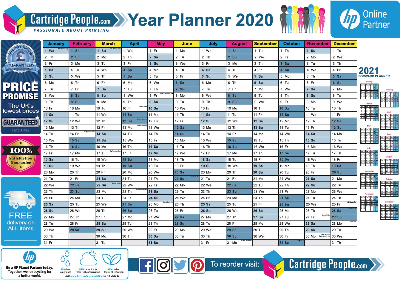 Free Printable 2020 Wall Planner | A4 and A3 | Download Now